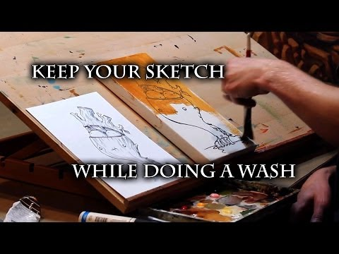 How to Keep Your Sketch While Doing a Canvas Wash - Justin Hillgrove - Imps and Monsters