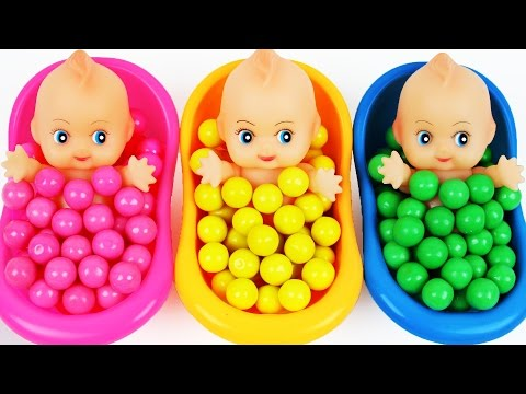 Learn Colors Surprise Toys Baby Doll Bubble Gum Bath Time Finger Family Song Nursery Rhymes For Kids