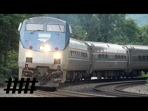 Pennsylvanian 43 Amtrak P42DC 89 Arriving and Departing Lewistown Train Station PT 165.7