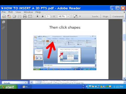 how to insert a 20 pts pixel red arrow to a PPT