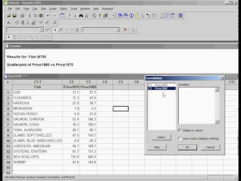 Correlation with MINITAB (use Full Screen)