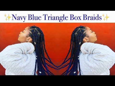 How To   Navy Blue Triangle Box Braids (RubberBand Method)