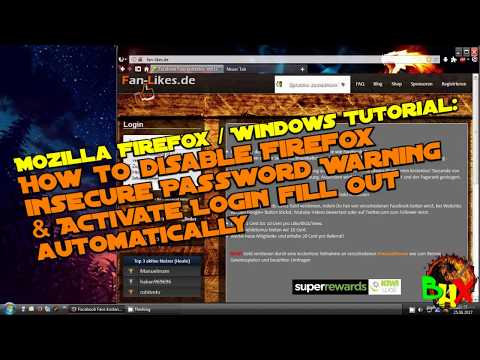 Disable Firefox insecure Password Warning & activate login fill out automatically - FF Win Tutorial