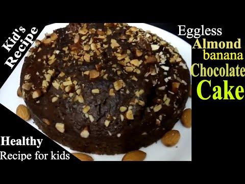 Almond Banana Chocolate Cake eggless recipe | Kids recipe | Veg cake recipe