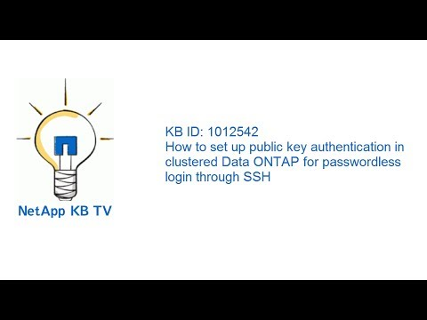 How to set up public key authentication in clustered Data ONTAP for passwordless login through SSH
