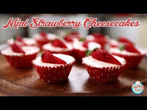 Mini Strawberry Cheesecake Recipe | Strawberry Cheesecake Cupcakes |  | Bhumika Bhurani