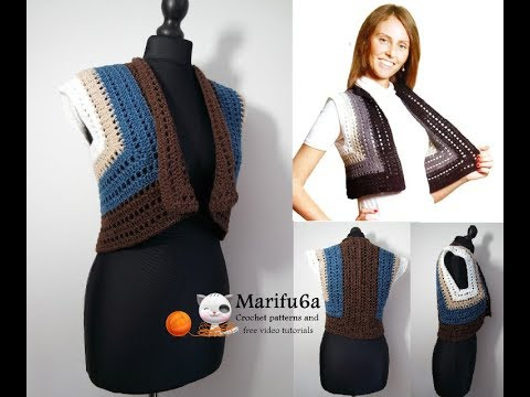 How to crochet easy bolero jacket shrug  for beginners free easy pattern tutorial all sizes