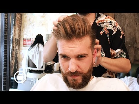 Men's Pompadour with Natural Side Part