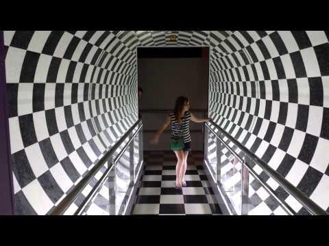 Walking through an optical illusion tunnel