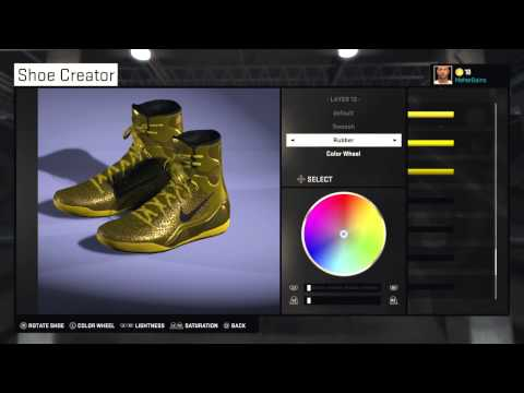 NBA 2K15 How To Create GOLD KOBE 9's