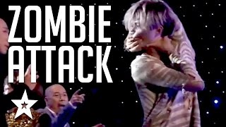 SCARY Contortionist Audition On Got Talent! Zombie attack