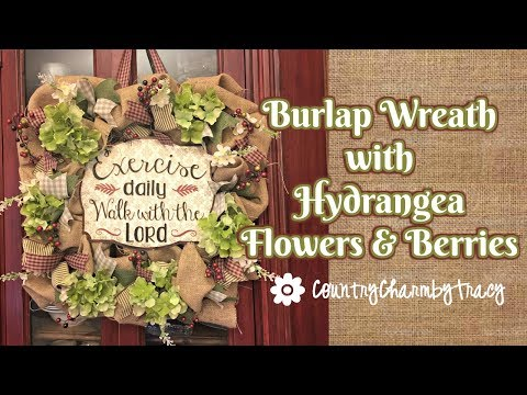 Burlap Wreath with Hydrangea Flowers and Berries