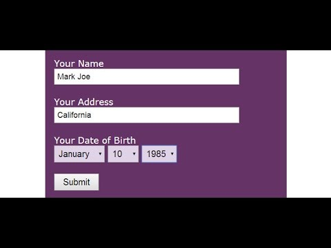 How to create html form with input type date of birth?