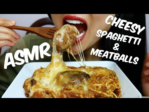 ASMR CHEESY Spaghetti & Meatballs (EATING SOUNDS) | SAS-ASMR