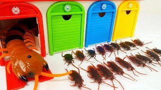 PJ Masks, Disney Cars, Tayo Bus Garage Toy Cockroach Monster & Centipede Insect Story for Kids