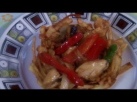 Chinese Wok Stir Fry In Crispy Potato Nest  (Chinese Stir Fry In Crispy Potato Basket)
