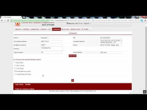 e payment of Tax VAT CST LT ET