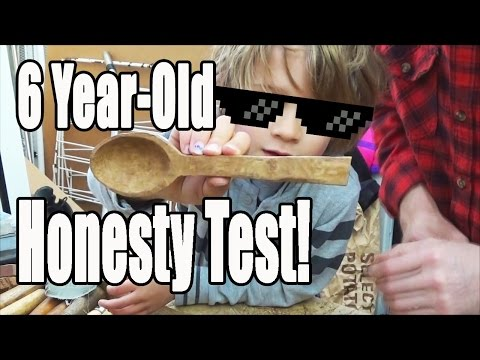6 Year-old Honesty Test! Spoon Carving