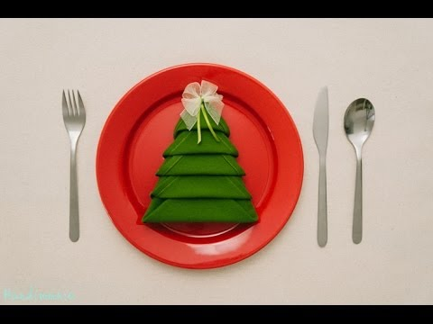 🎄 Christmas Tree Napkin Folding Tutorial # HOW TO | Handimania DIY