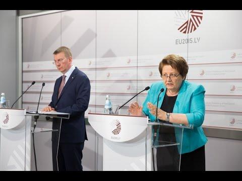 L.Straujumas un E.Rinkēviča preses konference par Latvijas prezidentūras rezultātiem (LV)