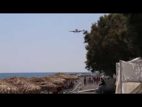 Extremely close plane landing in Kamari, Santorini
