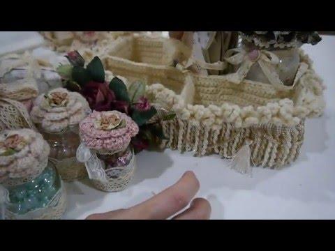 Shabby Vintage P/L wall hanging/crochet pin cushion box/crochet basket/altered bottle/card