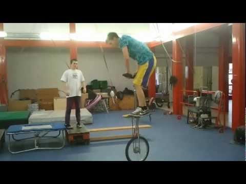 Tricks with giraffe unicycle