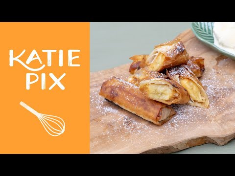 How To Make Banana & Caramel Spring Rolls Recipe | Katie Pix