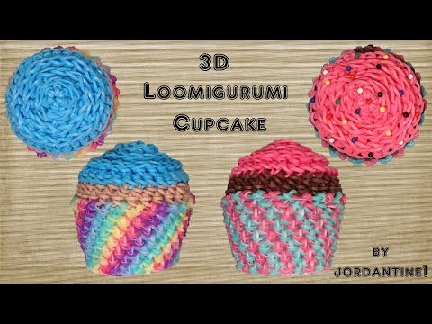 3D Cupcake Loomigurumi Amigurumi Rainbow Loom Band Crochet Birthday Party Hook Only Лумигуруми