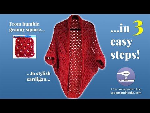 Granny square cocoon cardigan sweater (free crochet pattern)