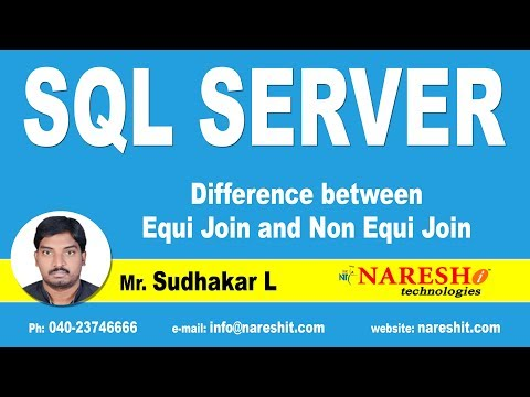Difference between Equi Join and Non Equi Join in SQL Server | MSSQL Training | By Mr.Sudhakar L