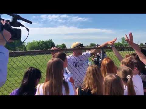 Jason Seaman meets students at baseball game