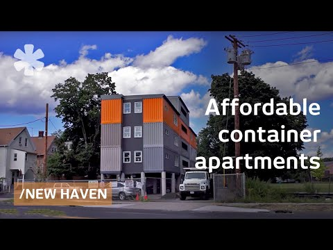 Stacked cargo containers in New Haven's