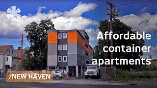 """Stacked cargo containers in New Haven's """"LEGO"""" apartments"""