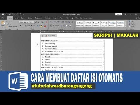 cara membuat daftar isi otomatis word 2016 skripsi makalah