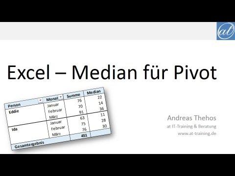 Excel # 388 - Median für Pivot Tabellen - Funktionen MEDIAN und AGGREGAT