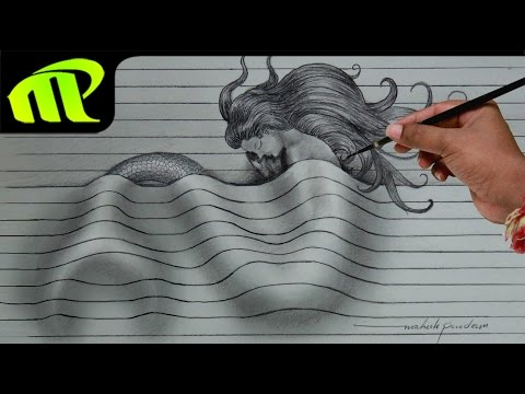 Drawing a Sleeping Mermaid - 3D Paper Illusion | Trick Art