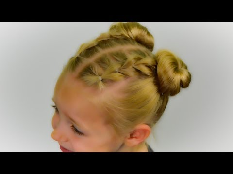 PULL THROUGH BRAIDS with SPACE BUNS. 2017-2018 TREND. Quick and Easy hairstyle #40