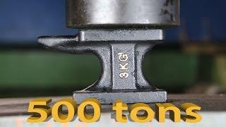 Experiment ANVIL VS 500 TONS MEGA HYDRAULIC PRESS The Crusher show