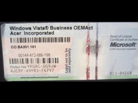 Product key Microsoft Windows VISTA COA - Serial licence vista the serial