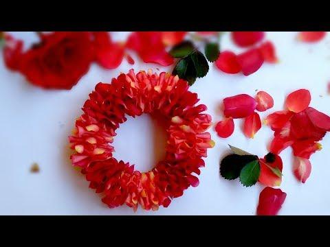 How to string rose petals garland   Easy method to make flower garland  DIY