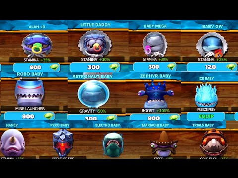 All Baby Sharks Cost in GEMS & info ! - Hungry Shark Evolution