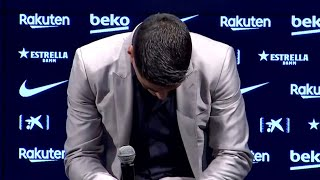 Luis Suarez Says Goodbye To Barcelona In Emotional Press Conference