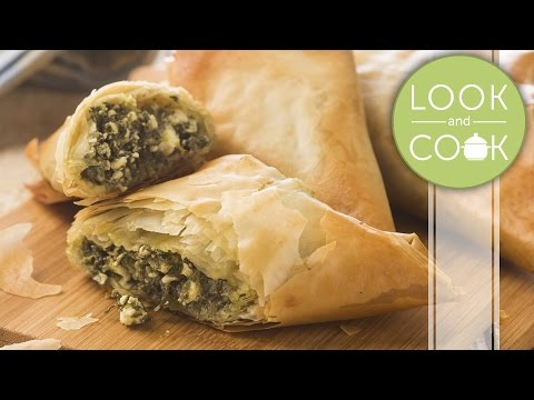 Spinach & cheese filo Recipe - Look and Cook step by step recipe | How to make Spinach & cheese filo