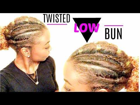 Natural Hairstyle   Twisted Low Bun