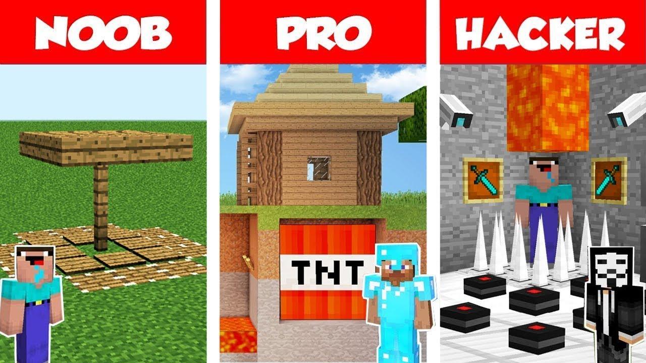 Minecraft NOOB vs PRO vs HACKER: Secret Trap Base Battle in Minecraft / Animation