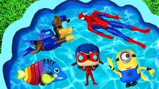 Learn with Frozen, Paw Patrol, Pj Masks, Spiderman, Peppa Pig and Barbie for Kids and Children Pool