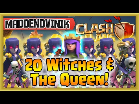 Clash of Clans - 20 Witches & The Queen (Gameplay Commentary)
