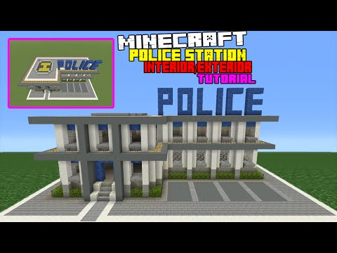 Minecraft Tutorial: How To Make A Police Station Interior/Exterior (Inside And Outside)