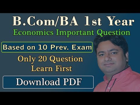 ECONOMICS IMPORTANT QUESTIONS  FOR B.Com and B.A 1st Year | Micro Economics SOL DU Students 1st Year